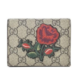 GUCCI GG Monogram Compact Rose Embroidered Wallet